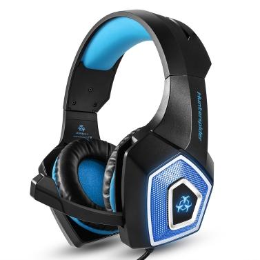 Hunterspider V-1 3,5 mm Wired Gaming Headsets Über Ohr Kopfhörer Noise Cancelling Kopfhörer mit Mikrofon Bunte LED Hellblau für PC Laptop PS4 Neue XBOX ONE