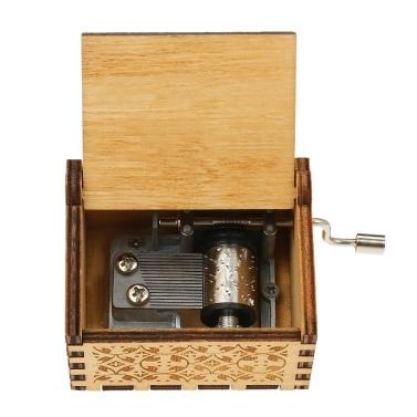 Vintage Holz Thema Lied Spieluhr handbetrieben Gravur Musik Fall Kreative Kinder Spielzeug