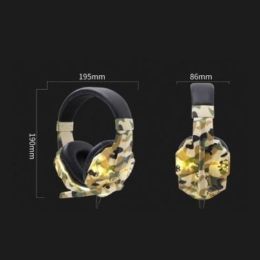 SY830MV Gaming Headset 3,5 mm Kabel über Ohr Kopfhörer Noise Cancelling E-Sport-Kopfhörer mit Mikrofon LED-Licht AUX + USB für Desktop-PC