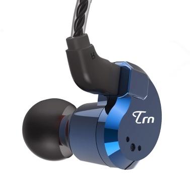 TRN V80 3,5-mm-In-Ear-Kopfhörer 2DD + 2BA Hybrid-HiFi-Sport-Headset Musik-Kopfhörer 2-polig Abnehmbares Kabel In-Line-Steuerung mit Mikrofon