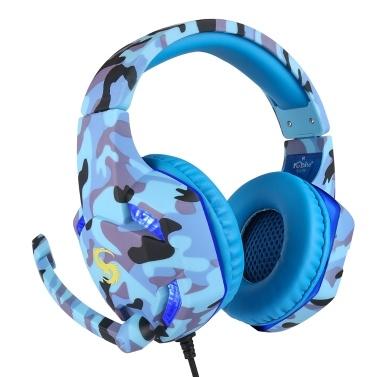 KUBITE T176 Gaming Headset 3,5 mm + USB-Stecker Over-Ear-Kopfhörer mit einstellbarer Mikrofonlautstärkeregelung für PC-Laptop-Smartphones