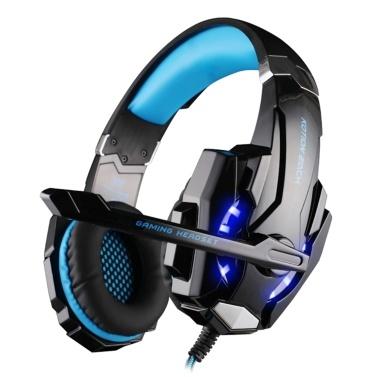 KOTION JEDES G9000 3,5-mm-Gaming-Kopfhörer über dem Ohr Spiel Headset Rauschunterdrückung Kopfhörer mit Mikrofon-LED-Licht Lautstärkeregler für PS4-Laptop-Tablet Mobiltelefone Desktop-PC
