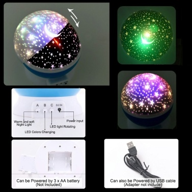 Kids Star Night Light 360-Degree Rotating Star Projector Desk Lamp LED Colors Changing with USB Cable for Children Baby Bedroom Party Decorations