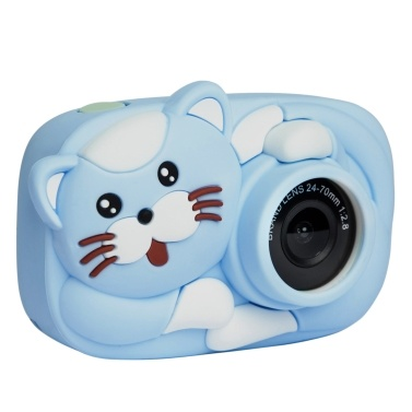 1080P Kids Camera Mini Cartoon Digital Child Camera 2.4-inch IPS Screen Photo Taking Video Recording 2600W Pixel Children Toys Camera with Silicone Protective Case