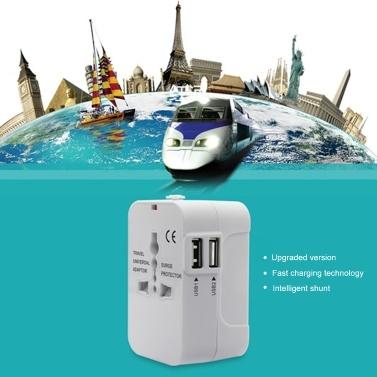 Universal Worldwide All-in-One-Telefonladegerät Reisewand-Netzsteckeradapter mit zwei USB-Ladeanschlüssen für USA EU UK AU