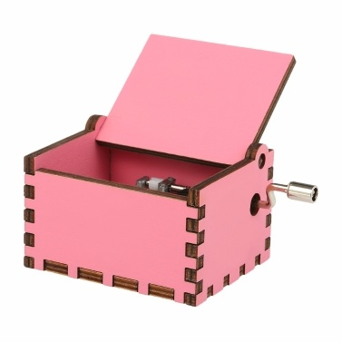 Vintage Wooden Theme Song Music Box Hand-operated Carved Engraving Music Case Creative Holiday Festival Birthday Gifts Present Kids Children Pink