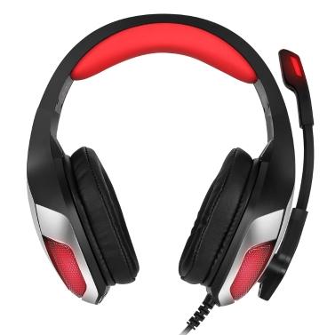 Hunterspider V-4 3,5 mm Wired Gaming Headsets Über Ohr Kopfhörer Noise Cancelling Kopfhörer mit Mikrofon LED-Licht Lautstärkeregler Rot für PC Laptop PS4 Neue XBOX ONE