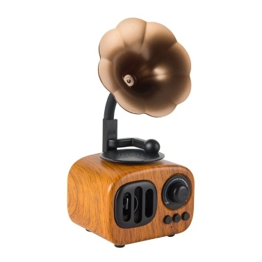 Vintage Style Wooden Texture Portable Wireless BT Speaker Built-in MIC Support TF Card/U Disk/AUX Audio Retro Loudspeaker Music Player