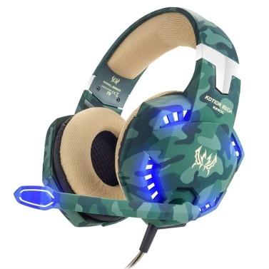 KOTION EACH G2600 Stereo-PC-Gaming-Headset Kopfhörer mit Rauschunterdrückung über das Ohr Wired-Kopfhörer mit Mikrofon-LED-Leuchten Lautstärkeregler für Desktop-PCs, Laptops und PS4-Smartphones