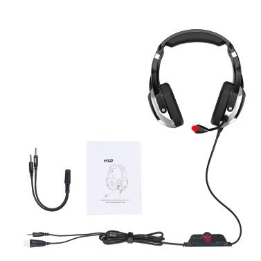 ONIKUMA K12 Game Kopfhörer Over Ear Gaming Headset Rauschunterdrückungsmikrofon LED-Licht 3,5 mm Audio + USB-Anschluss + Splitter-Kabelsatz für PS4 Laptop Tablet-Handys