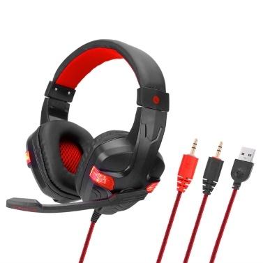 SY860MV Gaming Headset 3,5 mm Kabel über Ohr Kopfhörer Noise Cancelling-Kopfhörer mit Mikrofon LED-Licht Lautstärkeregler AUX + USB für Desktop-PC