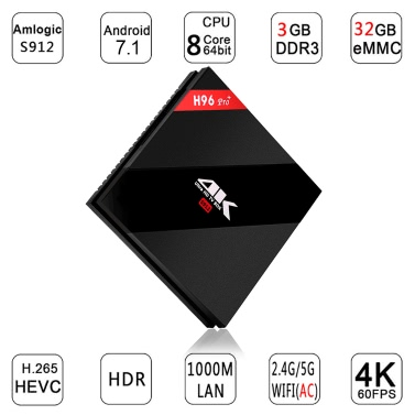 H96 Pro+ Smart Android 7.1 TV Box KODI 17.3 S912 3GB / 32GB EU Plug