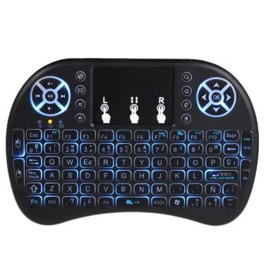 Versión en español con retroiluminación de 2,4 GHz teclado inalámbrico Air Mouse negro