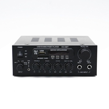 KS33BT Digital Audio Player BT Power Amplifier LCD Display BT Amplifier Amp Speaker with Remote Control for Car Home