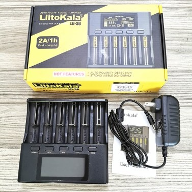 LiitoKala Lii-S6 Battery Charger 6 Slots 4 Currents Auto-Polarity Detect for 18650 26650 21700 32650 AA AAA Batteries