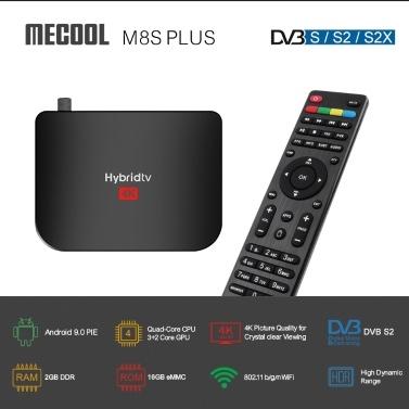 MECOOL M8S DVB-S / S2 / S2X TV-Empfänger Android 9.0 2 GB RAM 16 GB ROM HD 1080P Set-Top-Box Unterstützung für digitale Videoübertragungsempfänger 2.4G WiFi