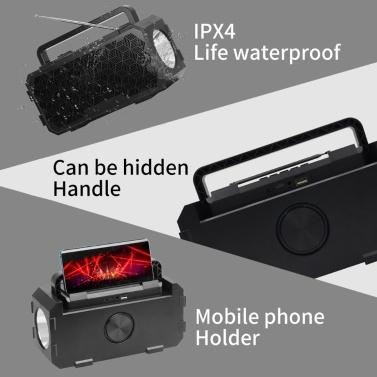 J831 Drahtloser Lautsprecher Bluetooth 5.0 Taschenlampen-Player Sound Mehrere Soundeffekte Lautsprecherunterstützung AUX TF USB für nächtliches Angeln im Freien Wanderreisen