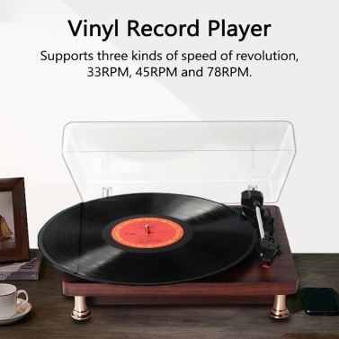 Retro Vinyl Record Player Record Player with Dustproof Cover Classic Nostalgic Style Record Player