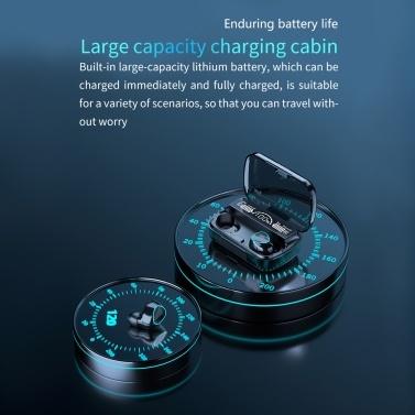 TWS Wireless Headphones BT 5.1 Earphones Music Earbuds Waterproof Headsets with 2000mAh Charging Case USB Output