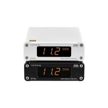 TOPPING D10S Mini Audio HiFi Decoder Digital USB Decoder DAC XMOS XU208 ES9038Q2M PCM384KHz DSD256 Line Out LED Display Screen