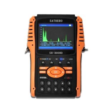 SATHERO SH-800HD Globaler Universal-TV-Signalfinder DVB-S / S2 Full HD 1080P Digitales Messgerät H.264 MPEG-4 mit 3,5-Zoll-LCD-Display 2550mAh Batterie-EU-Stecker