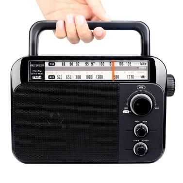 高齢者用2バンドラジオポータブルハンドルバッテリー&AC電源ブラック用のTR604 AM / FMラジオのRetekess