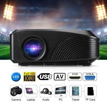 LED-4018 Tragbarer Projektor 1200 Lumen 800 * 480 Unterstützung 1080P 130 Zoll Rot-Blau 3D Mit HD USB VGA AV TF-Schnittstellen
