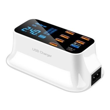 8 Anschlüsse USB-Schnellladegerät LED-Anzeigeadapter Intelligente leistungsstarke Schnellladung für Heimreisen Tragbar