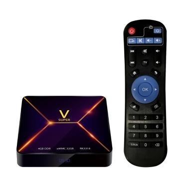 SUPER V Inteligente Android 9.0 TV Box RK3318 Quad Core de 64 Bits UHD 4 K Media Player VP9 H.265 4 GB / 32 GB 2.4G WiFi BT4.0 Tela de Exibição Digital de Controle Remoto