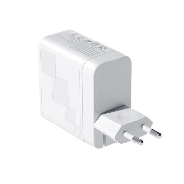 65W USB + PD-Schnellladegerät 2-Port-Wandladegerät Faltbares Netzteil PD-Ladegerät Kompatibel mit iPhone / MacBook / iPad / Airpods / Pixel / Galaxy / Switch