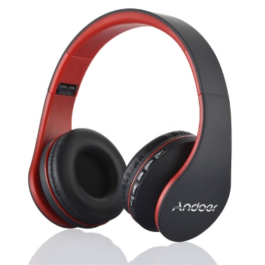 Andoer LH-811 Digital kabelgebundene Kopfhörer Wireless Stereo-Bluetooth 3.0 + EDR rot