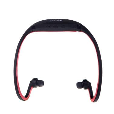 Sport MP3 WMA Musik Player TF/Micro SD Karte Slot Drahtlos Kopfhörer Ohrhörer Schwarz+Rot