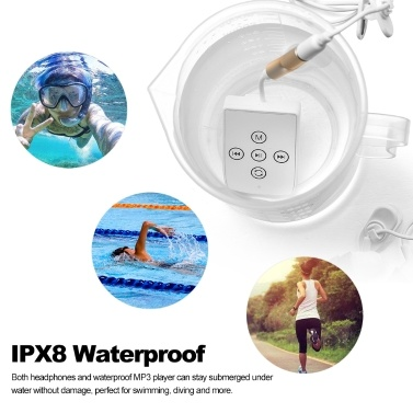 CJX 278 4GB MP3 Player IPX8 Waterproof Sports Music Player Swimming Running Riding With Headphone FM Radio Back Clip