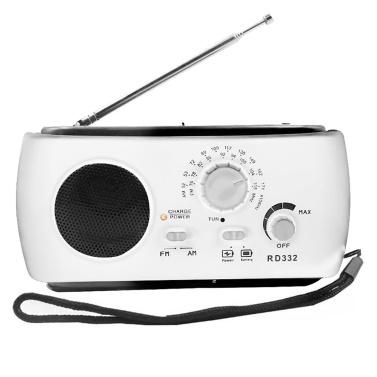 Mehrfach verwendbare solarbetriebene Stromerzeugung von Hand FM-Radio 3LED Taschenlampe USB-Aufladung Notladegerät Notalarm mit Kopfhörer-Kabelloch-Design