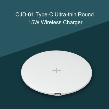 OJD-61 15W Wireless Charger Type-C Fast Charging Pad Ultra-thin Round Mobile Phone Charging Dock Cable