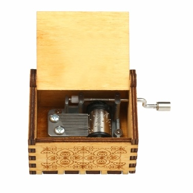 Vintage Wooden Theme Song Music Box Hand-operated Carved Engraving Music Case Creative Holiday Festival Birthday Gifts Present Kids Children Yellow