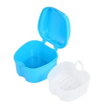 Denture Bath Box Case Dental False Teeth Storage Box Cleaning Container Rinsing Basket Retainer Appliance Holder Tray