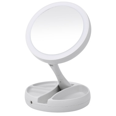 LED Lighted Makeup Mirror with Storage Box Organizer 10X Magnifying Mirror