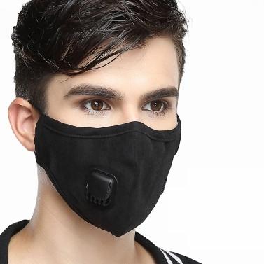 Anti-pollution PM2.5 Masque anti-poussière Filtre à air Masques Bouche Respirateur chaud avec filtre remplaçable pour homme noir