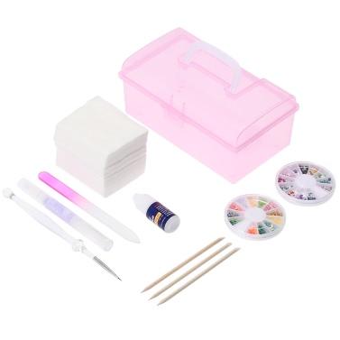 Professional Nail Art Manicure Box Decoration Tools Plastic Storage Box Nail Art Beauty Manicure Accessory Cotton Pads Glue Acrylic Kits DIY Set