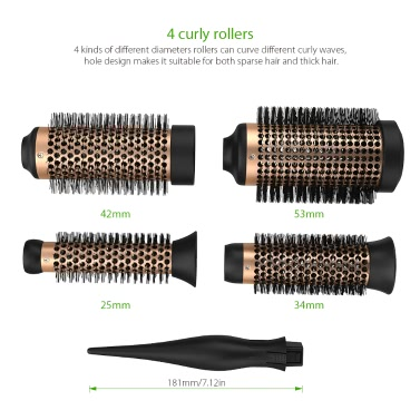 Abody Ceramic Hair Brush Set Detachable Hairbrush Aluminum Round Brush 4 Size Barrels & 1 Handle Nylon Pins DIY Hairstyle Tool