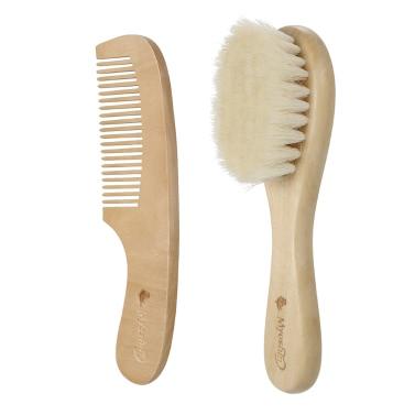2Pcs Baby-Haar-Bürsten-Kamm-Satz Neugeborenes Hairbrush-Installationssatz-Säuglingskamm Weiche Wolle-Haar-hölzerne Handgriff-Kopfhaut-Massage