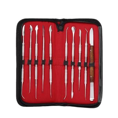 10PCS Wachs-Schnitzwerkzeug-Satz-Edelstahl-zahnmedizinisches Instrument-vielseitiger Installationssatz-zahnmedizinische Labor-Ausrüstung zahnmedizinische Werkzeug-Satz mit PU-Halter-Fall