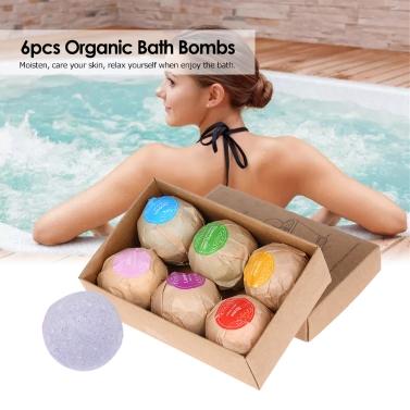 6-pcs Handmade Organic Bath Bombs Bubble Bath Salts Ball Essential Oil SPA Stres