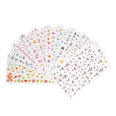 12 Blätter 3D Nail Sticker Aufkleber Wassertransfer Mischtinte Blume Klebstoff DIY Charme Maniküre Dekorationen