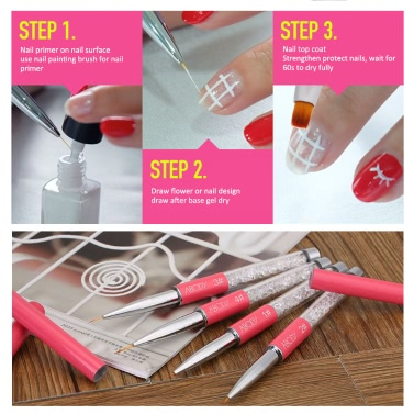 Abody Nail Art Painting Brush 7mm Crystal Acrylic Nail Art UV Gel Painting Line Brush Nylon Hair Pen Manicure Nail Liner Tool