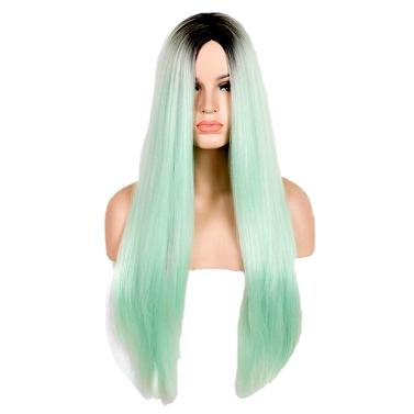 Europa und Amerika langes gerades Haar grün Gradient Middle Parting Mode Cosplay synthetische Perücke