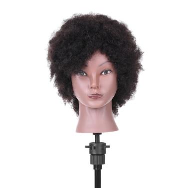 Afro Schaufensterpuppe Kopf Friseurausbildung Kopf für Praxis Styling Flechten Afroamerikaner Kunstkopf mit 100% Echthaar Schwarz