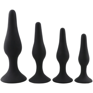 Set Of 4 Silicone Anal Butt Plug With Vacuum Suction Cup Anus Peep Prostate Massage Enema Anal Beads Men Woman SM Erotic Sex Toys