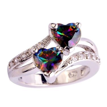 Lingmei Fashion Lover Schmuck Herz schneiden Rainbow & White Topas Edelstein Silber Ringgröße 13
